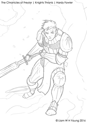 Knights Thranis book cover preliminary sketch work by Hardy Fowler